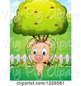 Swine Clipart of Pig Jumping Rope in a Pasture by Graphics RF