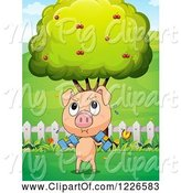 Swine Clipart of Pig Lifting Weights in a Pasture by Graphics RF