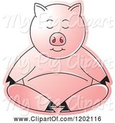Swine Clipart of Pig Meditating by Lal Perera