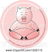 Swine Clipart of Pig Meditating Icon by Lal Perera