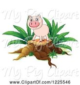 Swine Clipart of Pig on a Tree Stump by Graphics RF