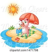Swine Clipart of Pig on an Island by Graphics RF