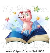 Swine Clipart of Pig on an Open Book by Graphics RF