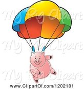 Swine Clipart of Pig Parachuting by Lal Perera
