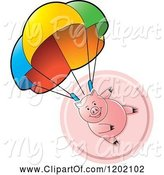 Swine Clipart of Pig Parachuting over a Pink Icon by Lal Perera