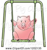 Swine Clipart of Pig Playing on a Swing by Lal Perera