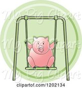 Swine Clipart of Pig Playing on a Swing Icon by Lal Perera