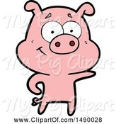 Swine Clipart of Pig Pointing by Lineartestpilot