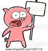 Swine Clipart of Pig Protesting by Lineartestpilot
