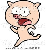 Swine Clipart of Pig Running by Lineartestpilot