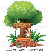 Swine Clipart of Pig Running on a Tree Stump by Graphics RF