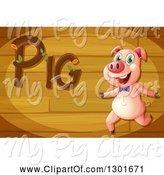 Swine Clipart of Pig Running Under Text on Wood by Graphics RF