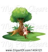 Swine Clipart of Pig Running Upright by Graphics RF