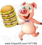 Swine Clipart of Pig Running with a Giant Cheeseburger by Graphics RF