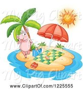 Swine Clipart of Pig Set up for Relaxation on an Island by Graphics RF