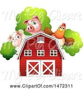 Swine Clipart of Pig Sheep and Hen over a Red Barn by Graphics RF
