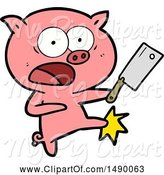 Swine Clipart of Pig Shouting and Kicking by Lineartestpilot