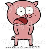 Swine Clipart of Pig Shouting by Lineartestpilot