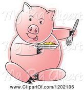 Swine Clipart of Pig Sitting and Eating by Lal Perera