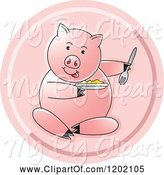Swine Clipart of Pig Sitting and Eating Icon by Lal Perera