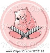 Swine Clipart of Pig Sitting and Reading a Book Icon by Lal Perera