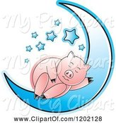 Swine Clipart of Pig Sleeping on a Blue Crescent Moon by Lal Perera
