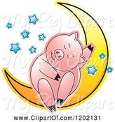 Swine Clipart of Pig Sleeping on a Crescent Moon 2 by Lal Perera