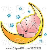 Swine Clipart of Pig Sleeping on a Crescent Moon by Lal Perera