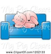Swine Clipart of Pig Sleeping on a Sofa by Lal Perera