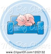 Swine Clipart of Pig Sleeping on a Sofa Icon by Lal Perera