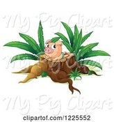 Swine Clipart of Pig Sun Bathing on a Tree Stump by Graphics RF