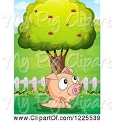 Swine Clipart of Pig Thinking by a Tree by Graphics RF