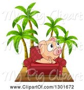 Swine Clipart of Pig Thinking on a Chair by Palm Trees by Graphics RF