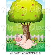 Swine Clipart of Pig Trying to Fly in a Yard by Graphics RF