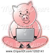 Swine Clipart of Pig Using a Laptop Computer by Lal Perera
