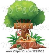 Swine Clipart of Pig Watching a Snake on a Tree Stump Under a Sign by Graphics RF
