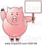 Swine Clipart of Pig Waving and Holding a Sign by Lal Perera