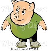 Swine Clipart of Pig Wearing a Green Shirt by Lal Perera