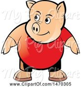 Swine Clipart of Pig Wearing a Red Shirt by Lal Perera