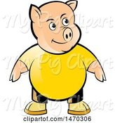 Swine Clipart of Pig Wearing a Yellow Shirt by Lal Perera
