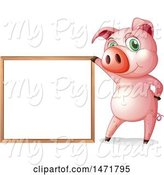 Swine Clipart of Pig with a White Board by Graphics RF