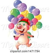 Swine Clipart of Pig with Balloons by Graphics RF