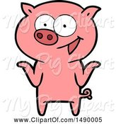 Swine Clipart of Pig with No Worries by Lineartestpilot