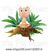 Swine Clipart of Pig Working out on a Tree Stump by Graphics RF