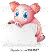 Swine Clipart of Pink Pig Behind a Blank Sign by Graphics RF