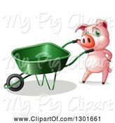 Swine Clipart of Pink Pig by a Green Wheelbarrow by Graphics RF