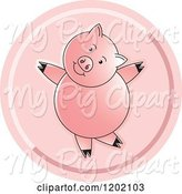 Swine Clipart of Pink Pig Dancing Icon by Lal Perera