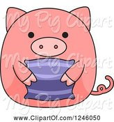 Swine Clipart of Pink Pig Holding a Pillow by BNP Design Studio