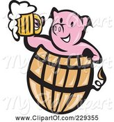 Swine Clipart of Pink Pig Holding Beer in a Barrel by Patrimonio