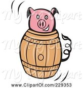 Swine Clipart of Pink Pig in a Barrel by Patrimonio